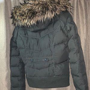 Green Hollister Faux Fur Jacket Size Large